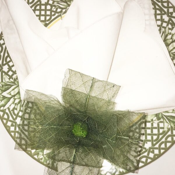 Porta Guardanapo Flor de Laço Verde