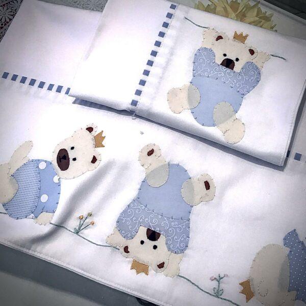 Lençol de Berço Ursos Ginastas- 100% algodão – 200 fios